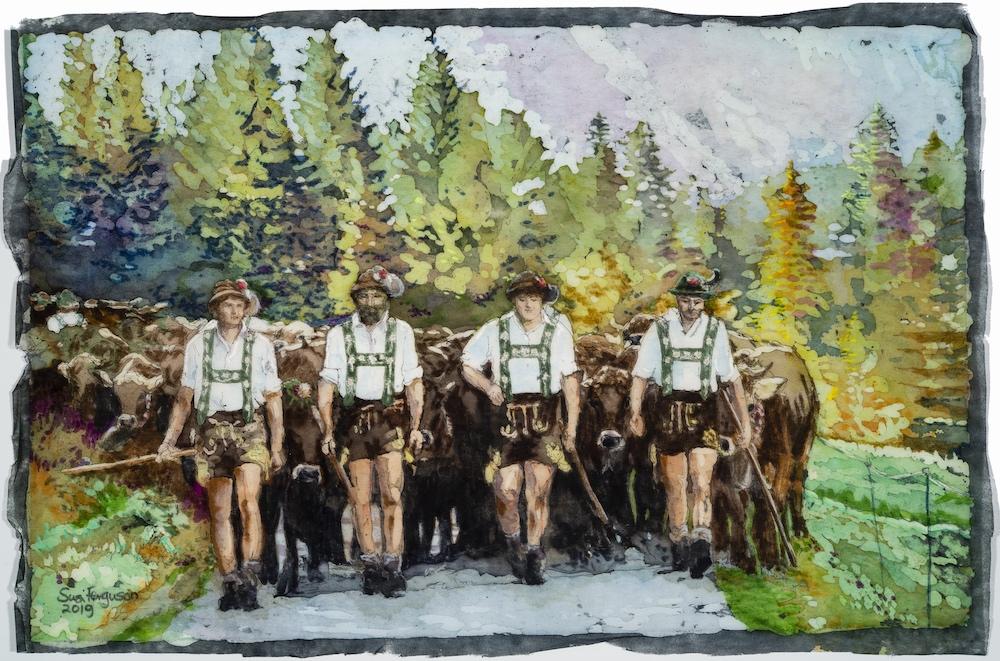 Viehscheid Obermaiselstein - Susi Ferguson • Aquarell Batik - Allgäu